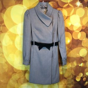 Gray Business Suit Dress with Black Bow Belt